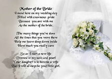 Personalised  Poem Print -  Wedding Bouquet  - Mother of the Bride  Poem