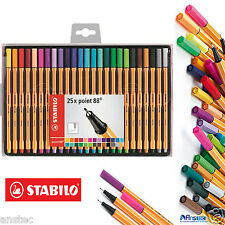 STABILO Fineliner Point 88  Ballpoint Pen - Assorted Colours Pack of 25