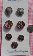 7 Silver Gold coloured Metal Shank Vintage Buttons 28 & 20mm  Shield Crown Crest
