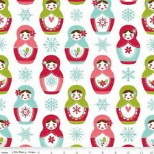 Riley Blake Merry Matryoshka by Carly Griffith 4380 White Matryoshka  Cotton Fab