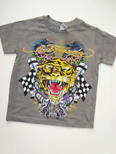NWT Boys Gray Ed Hardy Tiger Snake Short Sleeve Logo Shirt 5 6 NEW Spring Summer