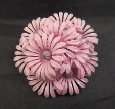 Vintage Dark/Light Purple (Lavender) Layered Plastic Flower Brooch Pin Metal Bk