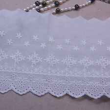 Broderie Anglaise Cotton Eyelet Lace Trim Rose Floral 12cm White 1yard