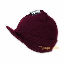 Burgundy Beanie Visor Knitted Skull Cap Hat Colors Wam Winter Ski Snow Headwear