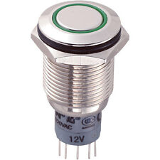 Switch Vandal Resistant DPDT 16mm IP67 Momentary Green LED Flush Brass