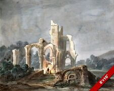 NIGHT SCENE OF GOTHIC CHURCH IN RUINS PAINTING HISTORY ART REAL CANVAS PRINT