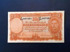 - 1939 Australia Ten 10 Shillings George VI   P  # 25a Orange signature