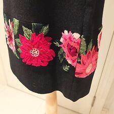 KENZO JUNGLE Vintage Black Wool Embroidered Skirt Size 10UK/40FR
