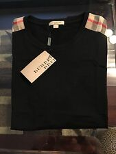 New Burberry Black Patch Shoulder Plaid Nova Check Men T-shirt S / XS $225