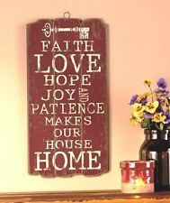 Wooden Panel Wall Hanging Faith Love Hope