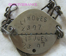 PID33 - PLAQUE IDENTITE DOG TAG  WWII - LIMOGES - classe 1929