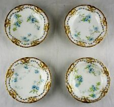 4 Haviland Limoges Butter Pats - Blue Floral Gold Bows Lamballe 124 Blank