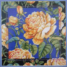 Yellow Rose Blooms & Buds Picture Pillow Needlepoint Canvas & Instructions