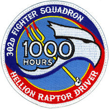 USAF 302nd FIGHTER SQUADRON - HELLION RAPTOR DRIVER - 1000 HOURS PATCH