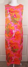 Vintage Pomare Tahiti Hawaiian Girl Waterfall Floral Barkcloth Maxi Sheath Dress