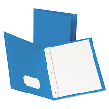 """Oxford Twin-Pocket Folders with 3 Fasteners Letter 1/2"""" Capacity Light Blue 25"""
