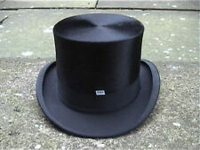 Extra Large Continental Black Silk Top Hat Sz 7 3/8 Excellent..