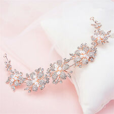 Vintage Bridal Rose Gold Hair Flower Band Headband Wedding Rhinestone Headpiece