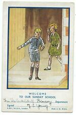 "CHILDREN / RELIGION - ""WELCOME to our SUNDAY SCHOOL"" Central Hall Reward Card"