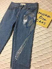 New VALENTINO Blue Denim Embellished Embroidered Sequined Dress Jeans Pants 4