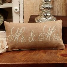 New MR. and MRS. BURLAP PILLOW Primitive Country Shabby Wedding Bridal Throw