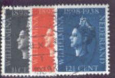 Nederland Netherlands 310-312 kon. Wilhelmina reg.jub.  1938 gestempeld-used