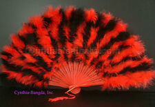 28 Leaves Red/Black mix marabou Feather Fan, A+ Quality