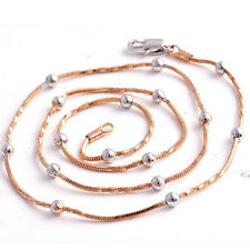 Fashion jewelry Silver White Beads & Rose Gold plated  Womens Rope Necklace