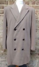STANLEY BLACKER FAWN BROWN WOOL DOUBLE BREASTED PEA COAT CHEST 44''