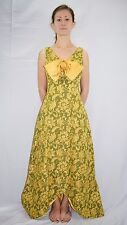 Vintage 60's Mod Gold Avocado Green Flower Jacquard Formal Gown Dress Size 6/8