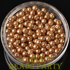 Hot 300pcs 6mm Round Czech Glass Pearl Loose Spacer Beads Gold