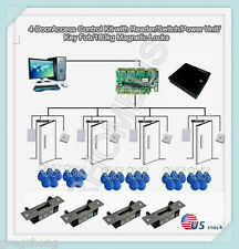 4-Door Control Kit with Reader/Switch/Power Unit/Key Fob/ Electric Strikes Locks
