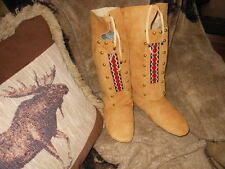 NATIVE AMERICAN DEER HIDE/BUCK SKIN WOMANS MOCCASINS SIZE 8-8 1/2 REGALIA