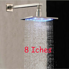 LED Brushed Nickel Wall Mount Rain Shower Head + Shower Arm Solid Brass