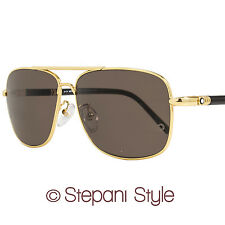 Montblanc Rectangular Sunglasses MB508T 30E Yellow Gold/Black 508