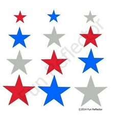 Red/Silver/Blue Mix Stars Bicycle Reflective Stickers Decals