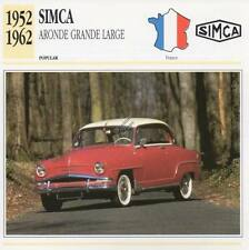1952-1962 SIMCA ARONDE GRANDE LARGE Classic Car Photograph/Information Maxi Card
