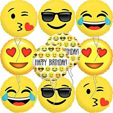 """Ivenf 18"""" Mylar Emoji Smiling Faces Happy Birthday Party Balloons Party New"""