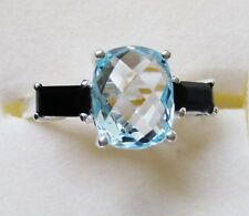 Sky Blue Topaz & Black Spinel Ring in Sterling Silver, size 9.25
