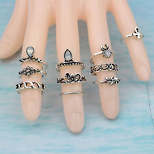 10pcs Women Punk Vintage Knuckle Rings Tribal Ethnic  Stone Joint Ring Set
