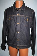 AMERICAN APPAREL Dark Denim Blue Jean JACKET XL Warrior Bear Graphic Inside RARE