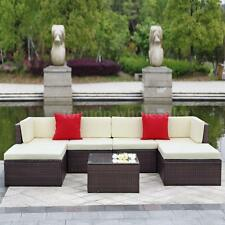 7PCS Outdoor Patio Sectional Furniture PE Wicker Rattan Sofa Set Deck Couch