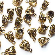 25 x Quality Patterned Antique Gold Plated Bail Charms, Bead Hanger, 13mm x 8mm