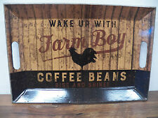 "Vintage-Style Tin Metal Serving Tray  ""Farm Boy Coffee Beans"" Rooster"