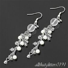 Faux Pearl, Bead & Crystal Drop Earrings Silver Plated 7.5cm Drop.
