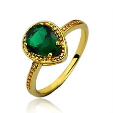 Gold Emerald Green Teardrop Crystal Stone Ring size medium O US = 7 17 mm FR106