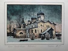 ORIGINAL RUSSIAN INK AND WATERCOLOUR PAINTING - SNOWY LANDSCAPE CHURCH NOVGOROD
