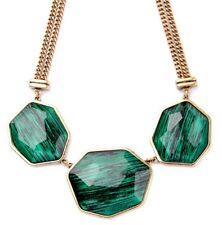GREEN BLACK FAUX STONE CRYSTAL RHINESTONE Chunky Gold Pendant Statement Necklace