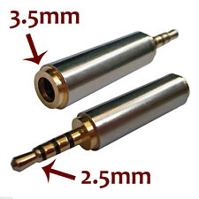 Gold 2.5mm Male to 3.5mm Female Stereo Mic Audio Earphone Jack Adapter AW