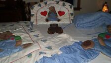 Vintage 8 Piece Crib Comforter Set Teddy Bear with matching Wall Hanging, Lamp